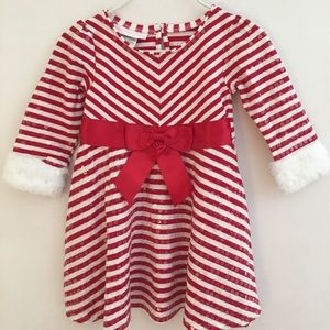 Bonnie Baby Christmas Candy Cane Dress